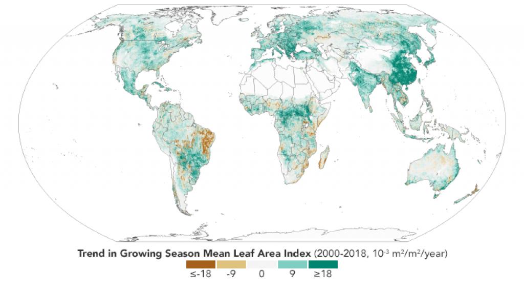 美国宇航局的新闻地图证实,地球正在变得更绿