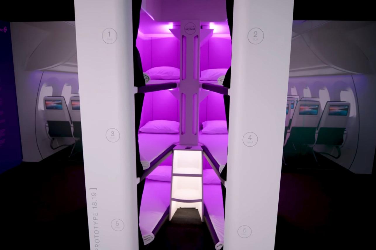 航空公司为经济舱乘客提供小型双层床