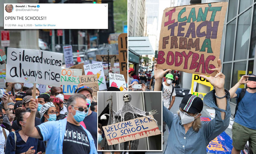 美国多地教师游行反对如期开学