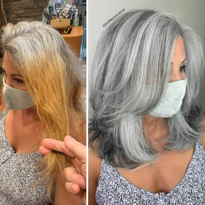 这位染发师并没有遮盖灰白的发根,而是让客户们欣然接受